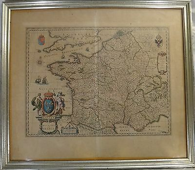 Original Old World map - Kingdom of France, Mid- 17th c. W. & J. Blaeu, 23 x 19""