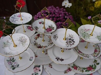 Job lot of 6 Vintage roses mis-matched flowers 3 tier cake stands