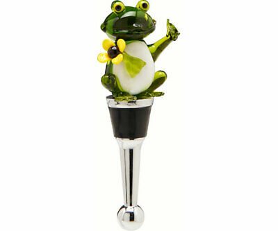COLLECTIBLE BLOWN GLASS CREATURES  BOTTLE STOPPER - Frog Yellow Flower  BS510