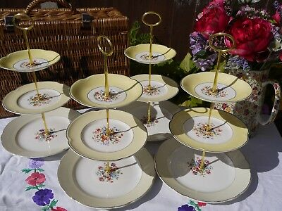 Job lot of 4 Vintage mis matched lemon yellow mixed flowere 3 tier cake stands