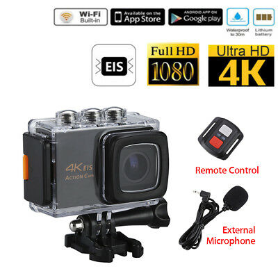 EIS 4K WiFi 20MP 30fps 1080P Sports Action Camera +Microphone +Remote Controller