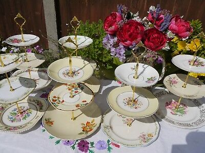 Job lot of 6 Vintage mis matched country flowers 3 tier cake stands