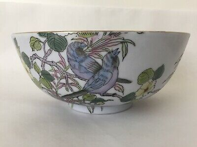 Vintage Oriental Bowl with Birds & Flowers (BC)