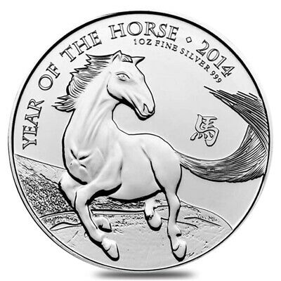2014 Great Britain 1 oz Silver Year of the Horse Coin .999 Fine BU