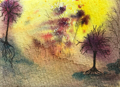 ACEO Watercolor Spontaneous Abstract Landscape Painting Original - In Autumn