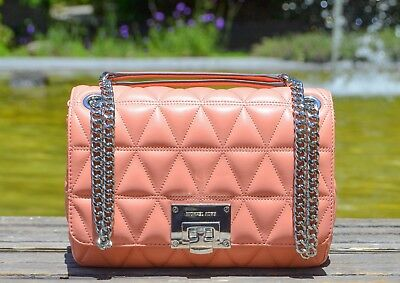 19a68b95fae7 New Michael Kors Vivianne Medium Quilted Shoulder Flap Leather Handbag In  Peach