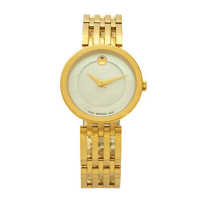 Movado Esperanza 0607054 Ladies Gold Stainless Steel Mother of Pearl Dial Watch