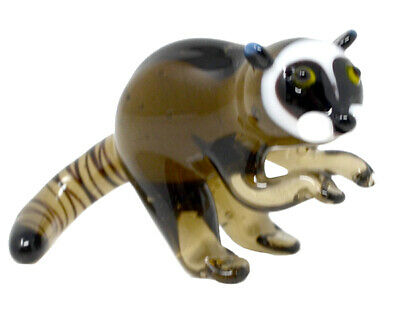 Collectible Blown Glass Creatures And Animals - Raccoon - Ma097