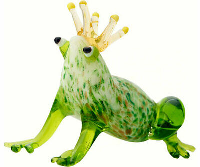 COLLECTIBLE BLOWN GLASS CREATURES AND ANIMALS - Frog with Crown - MA090