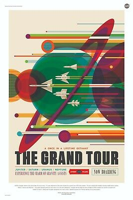 NASA Space Travel Poster - Grand Tour of the Solar System 24x36