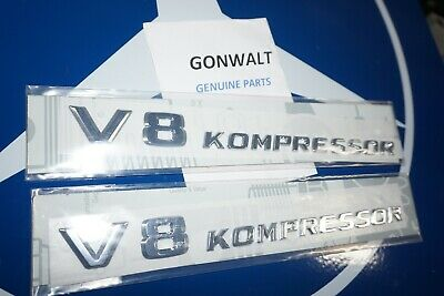 2308170515 Mercedes Benz OE Factory Trunk AMG V8 Kompressor Emblem Badge Logo x2