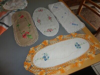 4 Hand Embroidered Vintage Sandwich Tray Doilies  Crochet Edges set 3