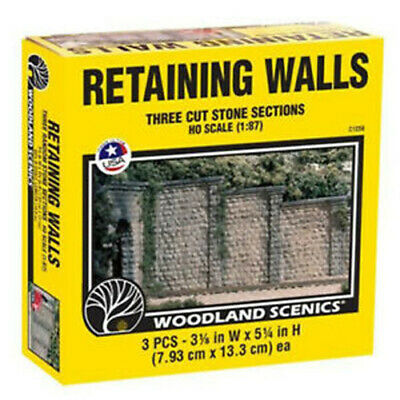 Cut Stone Wing Wall, HO Scale Cut Stone Retaining Walls, from Woodland Scenics.