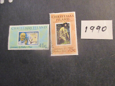 no--1-- 1990  CHRISTMAS  ISLAND       ISSUES  2 STAMPS---USED