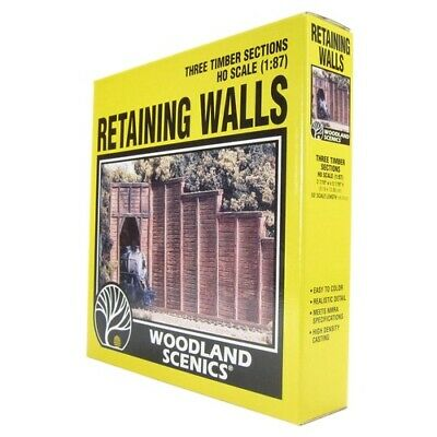 Timber Wing Wall, HO Scale Timber Retaining Walls, from Woodland Scenics. (3pc)