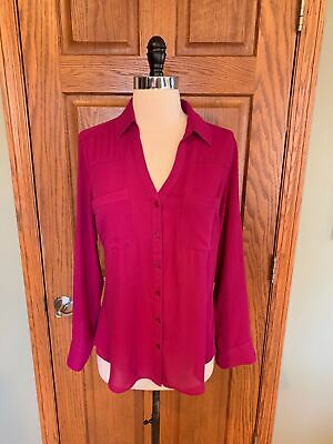32df6a04 Express The Portofino Shirt XS Magenta Pink Blouse Top Roll Tab Sleeve