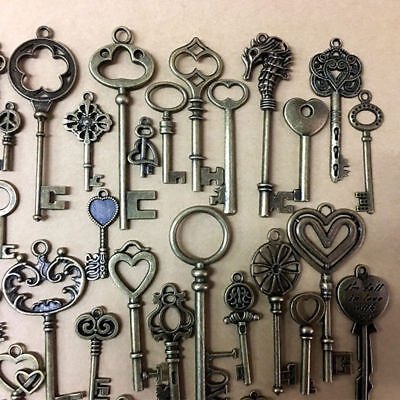 69Pc Antique Vintage Old Look Bronze Skeleton Keys Fancy Crown Bow Pendant Decor