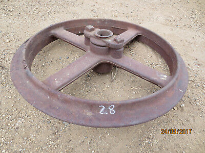 "N0--28-VINTAGE CAST  STEEL  MACHINERY  WHEEL  -18  3/4  "" --2  1/4  "" w"