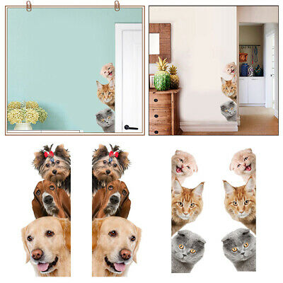 Removable 3D Cute Cats Dogs Puppy Wall Stickers Fridge Home Kids Room Decoration