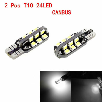 2X T10 24SMD LED Lights 3528 6500K W5W 12V Canbus Car Wedge Side Bulbs Auto Lamp
