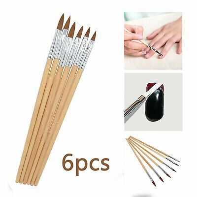 6 Professional Round Sable Acrylic Nail Art Brush Various Size 2/4/6/8/10/12