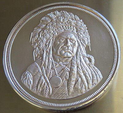 1985 Indian Chief 5 Troy Oz Chattanooga .999 Fine Silver Flip Case Coa Serial#