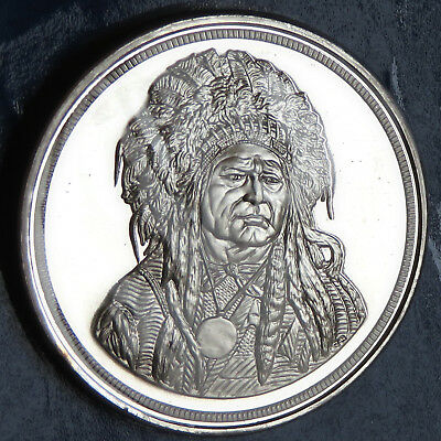 1985 Indian Chief 5 Troy Oz Chattanooga .999 Fine Silver Sealed With Coa Serial#