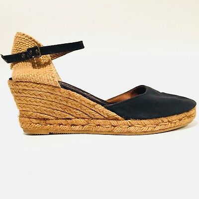 b4745fc760aa Gaimo Espadrilles Wedge Sandals Blue Handmade Shoes Women s Sz 8.5 9 EU 39