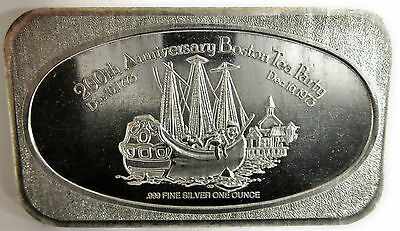 Ussc 1973 Art Bar Chattanooga Boston Tea Party .999 Fine Silver 1 Troy Oz