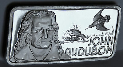 1975 John Audubon Art Bar Ham-622 .999 Fine Silver Old Hamilton Mint 1 Troy Oz