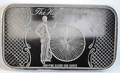 Mad-11 High Wheel Bike Art Bar 1972 .999 Fine Silver By Madison Mint, 1 Troy Oz