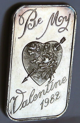 Dahlonega Mint Valentines Day 1982 Art Bar .999 Fine Silver 1 Troy Oz Toned