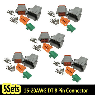 5 Set Deutsch DT 8 Pin Connector Kit 16-20 AWG Waterproof Contacts Male + Female