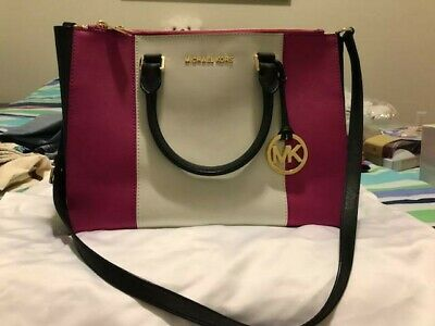 e57b4a9ece72 Michael Kors Sutton Center Stripe Large Satchel (Raspberry White Black)