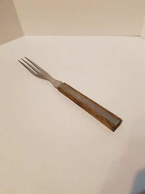 "Warco 3 Prong Tine Meat Serving Fork Wood Handle 9 1/2"" Stainless Steel Granny"