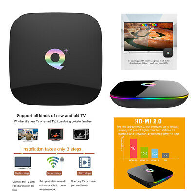 Android 8.1 Newest 6K Q Plus TV BOX 4GB+32GB H6 Quad Core HD Media Player UK