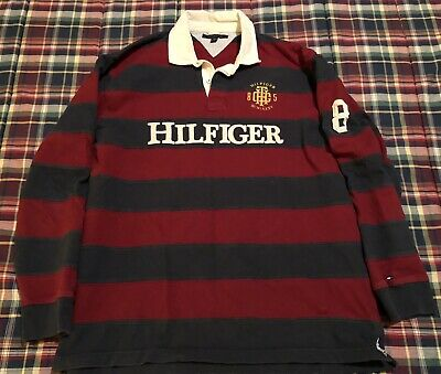 01101192090 Vintage Tommy Hilfiger Rugby 85 Men's XXL Long Sleeve Polo Spell Out Striped