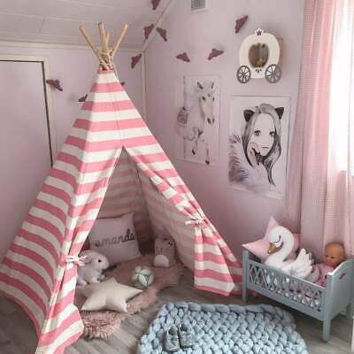 Large Pink Princess Girl Teepee Cotton Canvas Kids Play Tent Toy Children Teepee