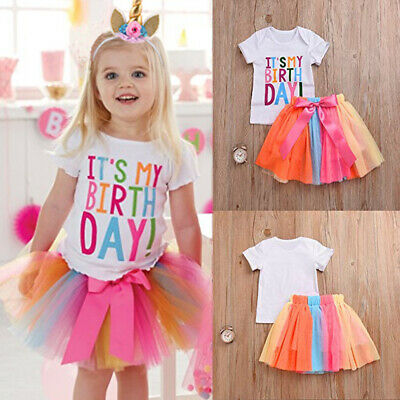 It's My Birthday Baby Girls Unicorn Princess Party Dress Tulle Tutu Skirt Outfit
