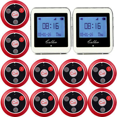 Wireless Restaurant Cafe Guest Table Calling System 10 Pagers +2X Watch Receiver