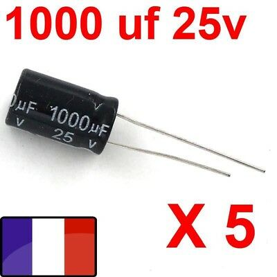 1000uf 25v LOT 5X CONDENSATEURS CHIMIQUE 1000µF 1000MF 1000uF 25V RADIAL 105° 5x