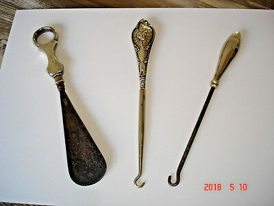 Vintage Silver collection 2 button hooks & shoe horn stamped