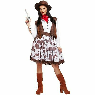 ADULT WILD WEST COWGIRL SHERIFF DRESS UP OUTFIT ladies women fancy dress costume