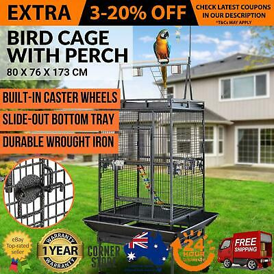 Large Bird Cage Black Aviary Paradise Pet Parrot Canary Metal Lockable Wheels