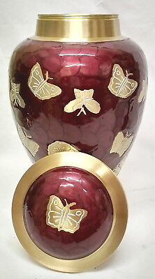 Adult Cremation Urn For Ashes Large Funeral Memorial butterfly maroon Urn LAST