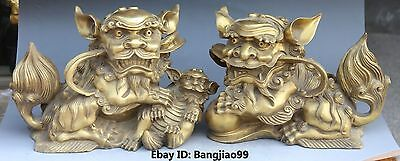 "14"" Chinese Fengshui Bronze Guardian Foo Fu Dog Door Lion Ball Kid Statue Pair"
