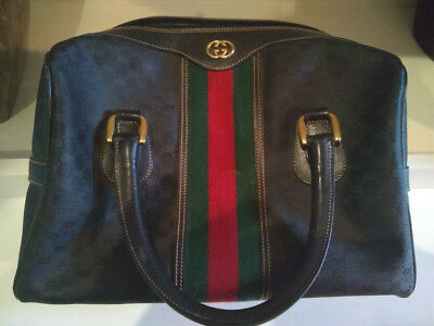 f698bc563e1 Gucci Rare Vintage Black Canvas Leather Purse GG Signature Logo Monogram  Boston