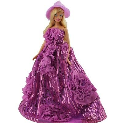 Princess Evening Party Clothes Wears Dress Outfit Set for Barbie Doll with Hat
