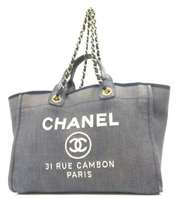 c7b97ba45ecc Authenticity CHANEL Deauville Canvas Shoulder Bag Blue Logo Medium Logo  B2143