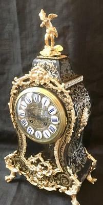 Antique boulle clock french bombe ormolu side mask case
